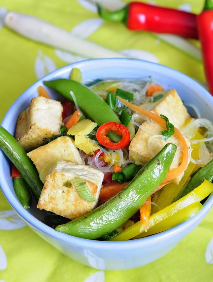 Asian Spring Vegetable Soup with Tofu