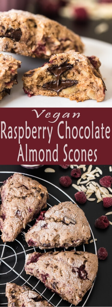 Raspberry Chocolate Almond Vegan Scones Recipe from VeganFamilyRecipes.com Vegan Family Recipes #brunch #breakfast