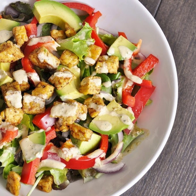 Mixed Greens Salad with Tempeh Croutons and Tahini Mint Dressing