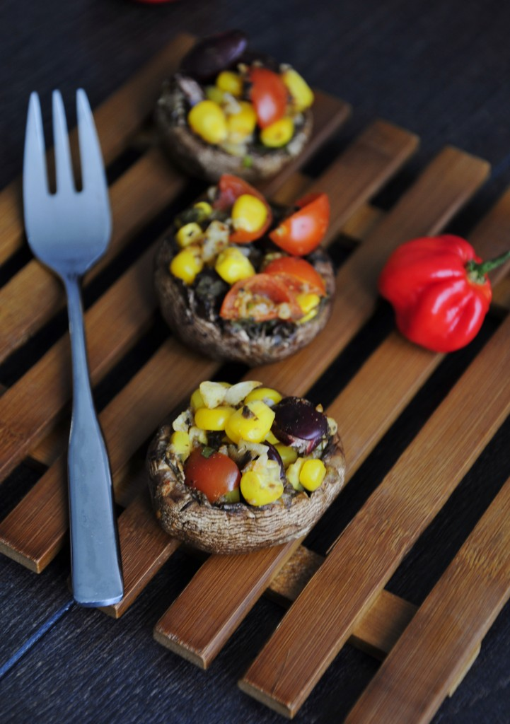 Grilled Easy Stuffed Mushrooms Mexican - Vegan Family Recipes