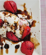 Ice Cream with Strawberries and Balsamic Drizzle - Vegan Family Recipes