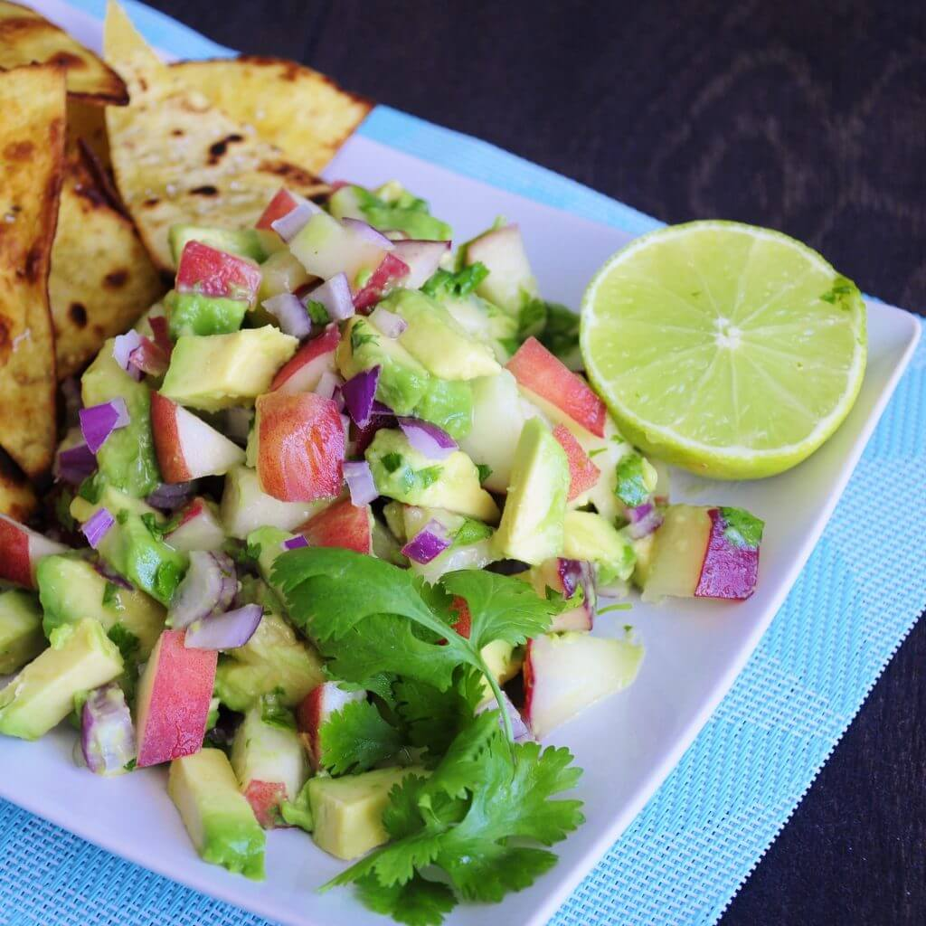 Avocado Peach Salsa with Coconut Oil Chips - Vegan Family Recipes