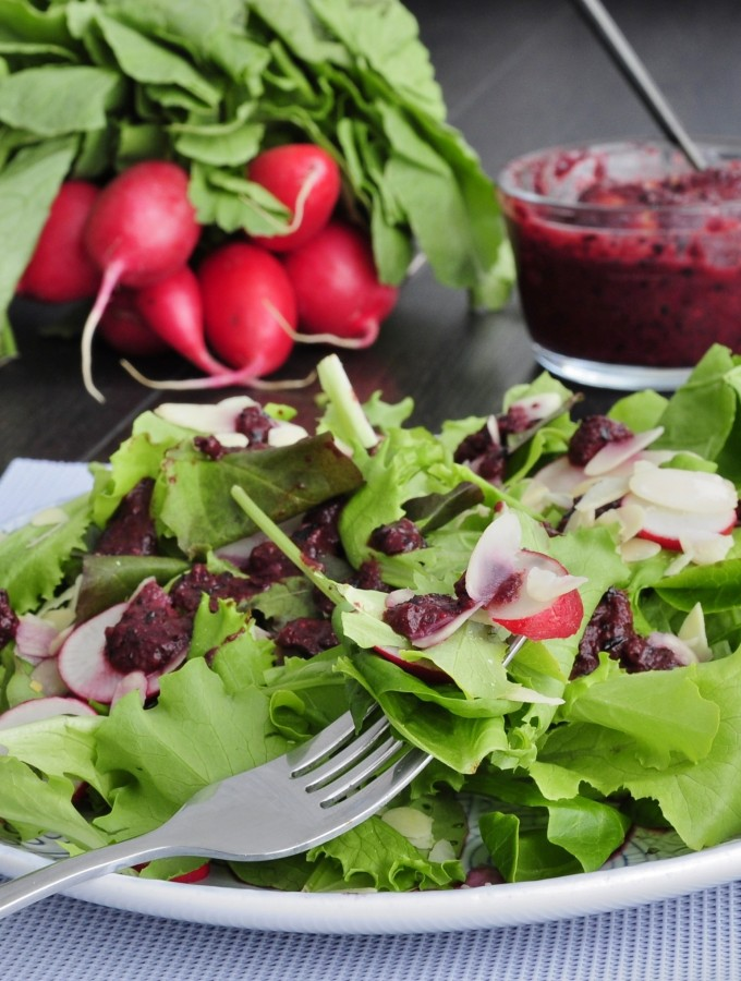 Blueberry Salad Dressing over Almond Radish salad