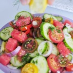 Lemon juice Watermelon Tomato Salad - Vegan Family Recipes