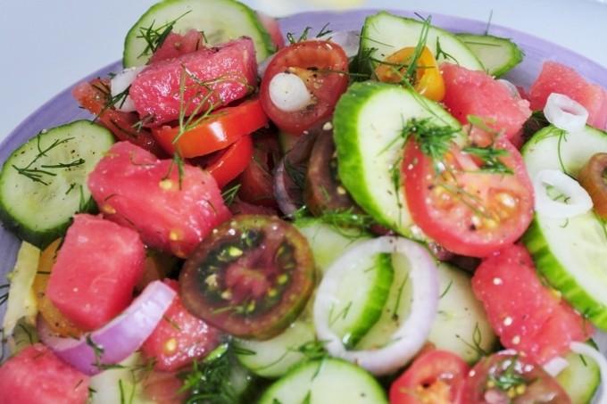 Lemon juice Watermelon Tomato Salad - Vegan Family Recipes