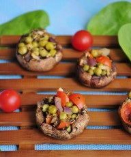 Pea and Garlic Stuffed Mushrooms Recipe - Vegan Family Recipes