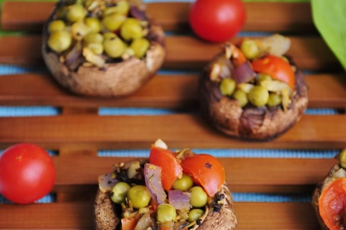 Pea and Garlic Stuffed Mushrooms Recipe - Vegan Family Recipes