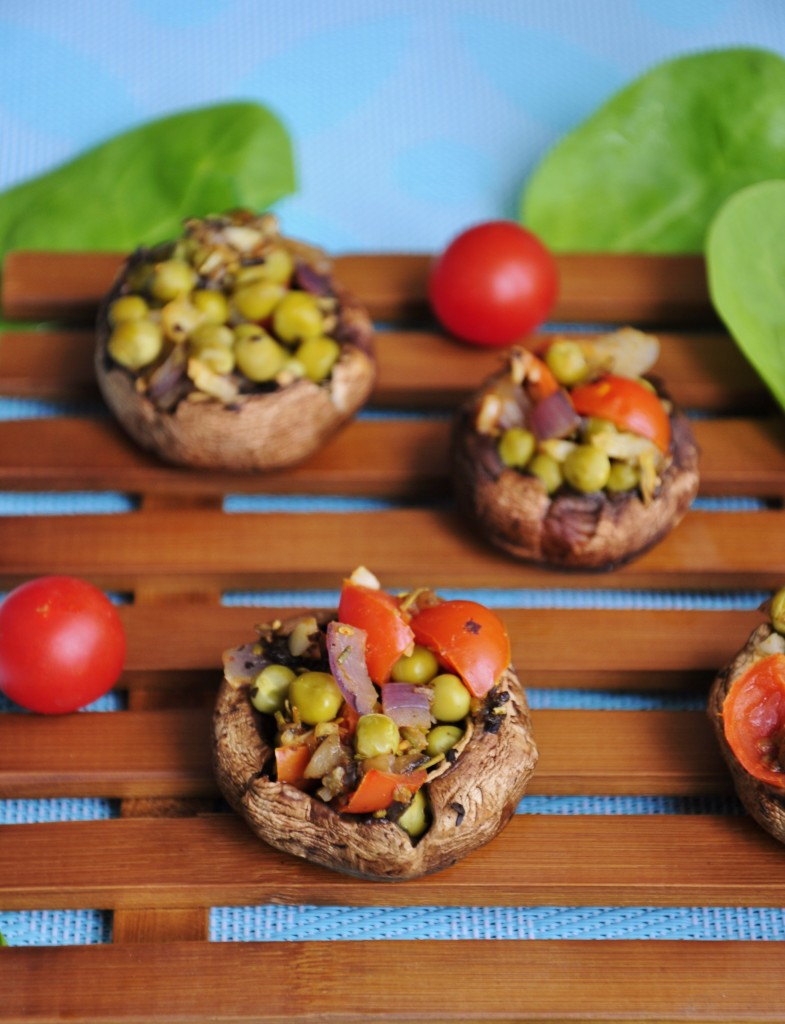 Stuffed Pea and Garlic Mushrooms - Vegan Family Recipes