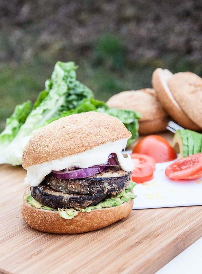 Healthy Eggplant Burger with Vegan Mayo