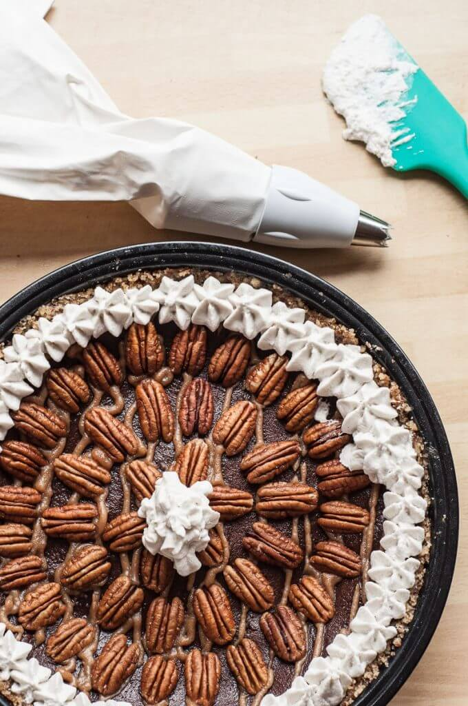 Chocolate Caramel Pecan Pie (V,GF,P) - Vegan Family Recipes