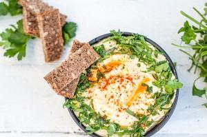 Creamy Hummus Recipe with Dijon Mustard, Tahini, and Fresh Parsley - Vegan Family Recipes #appetizer #smooth #dip