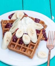 Vegan Banana Waffles Recipe - VeganFamilyRecipes.com #healthy #whole wheat