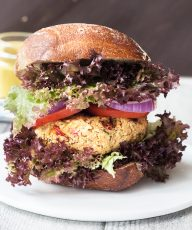 Healthy Couscous Burger Recipe with Garlic Coconut Sauce | VeganFamilyRecipes.com | #bbq #vegan #vegetarian