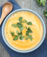 Curried Red Lentil and Pumpkin Soup with Coconut Milk, Cauliflower | VeganFamilyRecipes.com #vegan #dairyfree