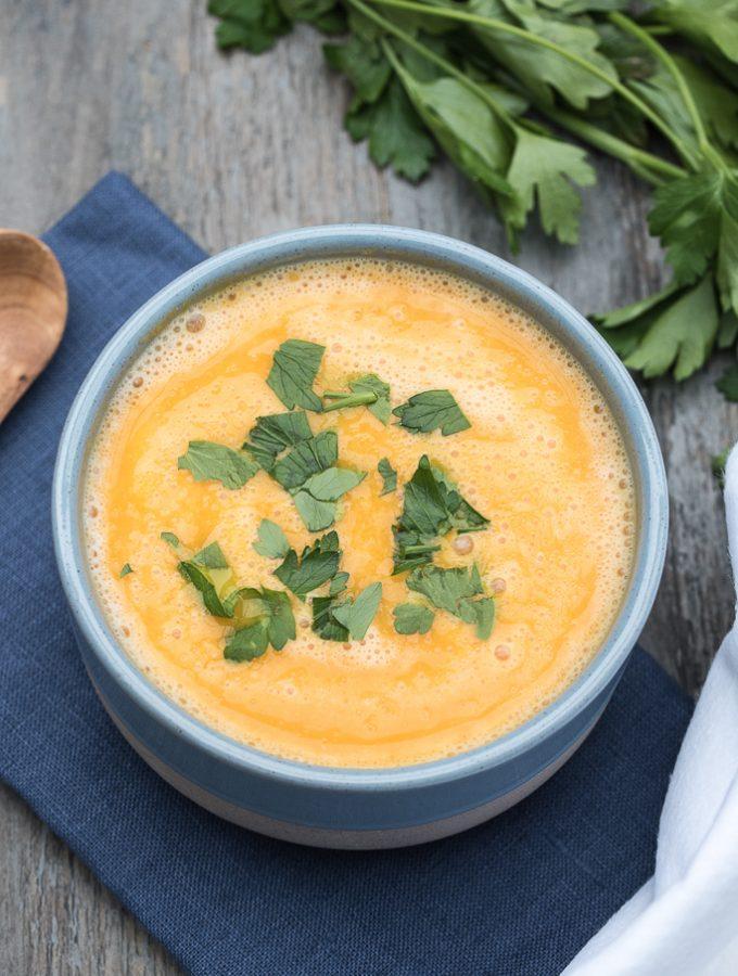 Curried Red Lentil and Pumpkin Soup with Coconut Milk, Cauliflower | VeganFamilyRecipes.com #vegan #glutenfree