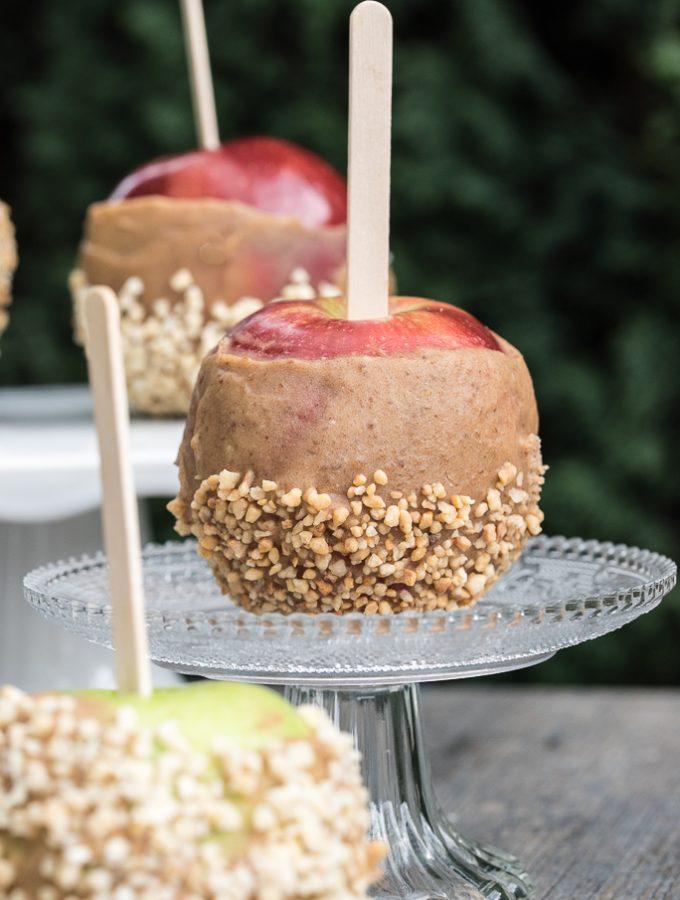 Gluten-free, Raw Vegan Caramel Apple Recipe for Halloween | VeganFamilyRecipes.com | #gf #healthy