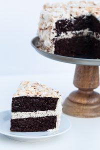Vegan Coconut Chocolate Cake Recipe - VeganFamilyReipes.com #dairyfree #coconut oil