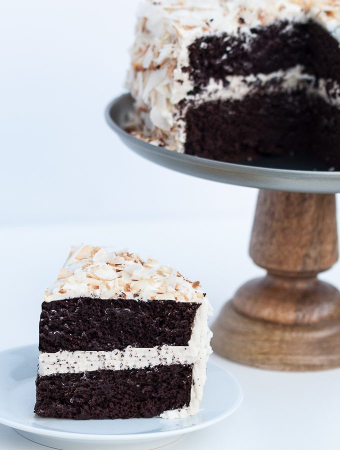 Vegan Coconut Chocolate Cake w/ Vanilla Coconut Oil Frosting
