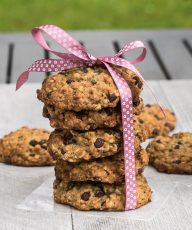 Vegan Chocolate Chip Oatmeal Cookies Recipe /// VeganFamilyRecipes.com /// #dessert #veganism