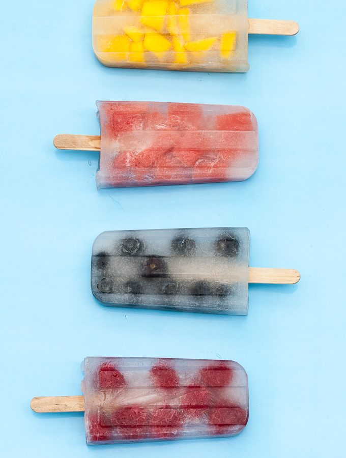 Coconut Water Popsicles or Ice Pops with fruit - Mango, Watermelon, Raspberries, and Blueberries , Vegan, Gluten-free, Sugar-free and healthy! - Vegan Family Recipes