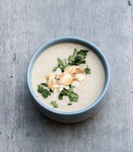 Recipe for Creamy Almond Soup from Awesome Vegan Soups Cookbook - VeganFamilyRecipes.com #gf #healthy