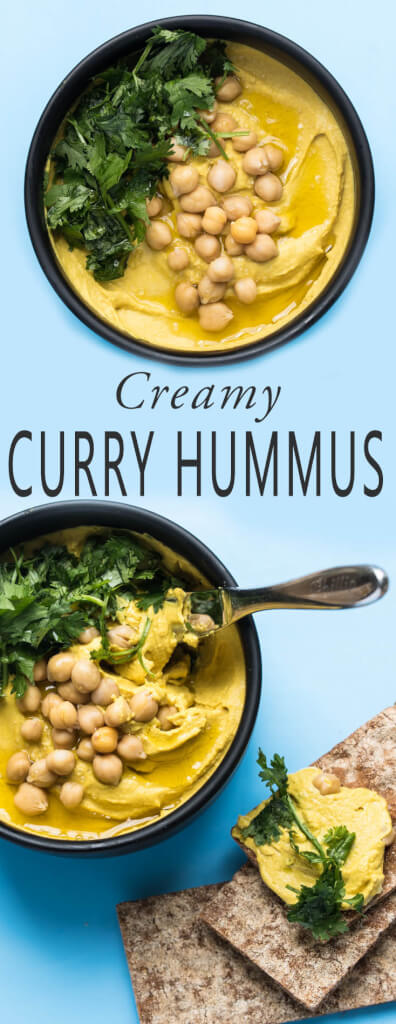 Creamy, oil-free Curry Hummus Recipe - healthy & high protein // Veganfamilyrecipes.com #vegan #glutenfree