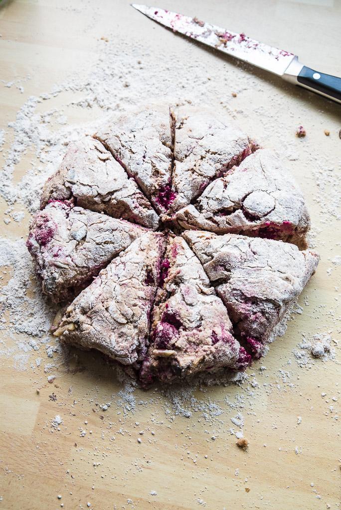 Raspberry Chocolate Almond Vegan Scones Recipe /// VeganFamilyRecipes.com #breakfast #brunch