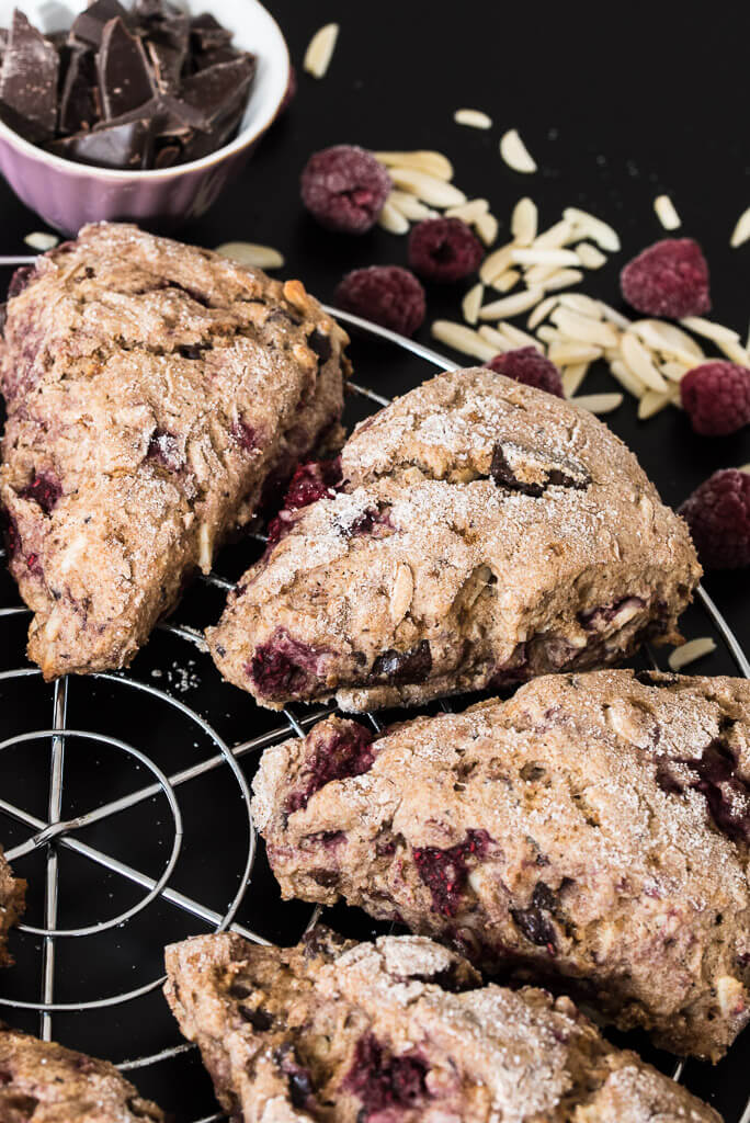 Raspberry Chocolate Almond Vegan Scones Recipe from VeganFamilyRecipes.com #healthy #brunch